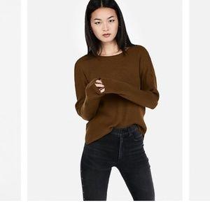Express Ribbed Shirttail Hem Sweater Top Brown